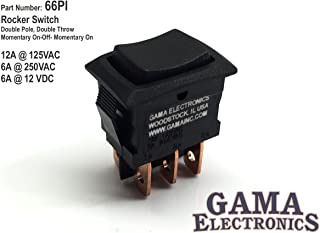 GAMA Electronics Mini 3 Position Double Pole Momentary On-Off-Momentary On Rocker Switch DPDT