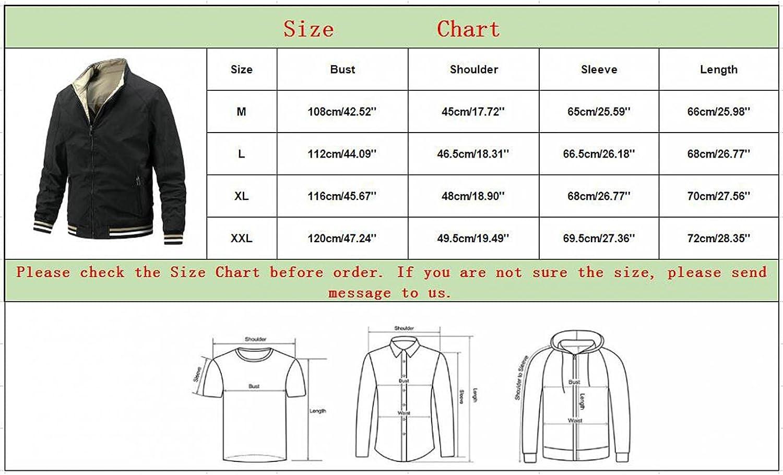 Men's Windbreaker Jackets Stand Collar Zipper Bomber Coat Novelty Double-Sided Overcoat Outerwear Lightweight Blouse