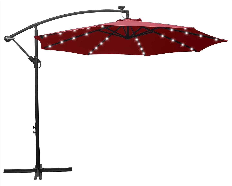 HENG FENG 10FT Solar Powered 32LED Lighted Patio Offset Umbrella Cantilever Umbrella Hanging Outdoor Market Umbrella with Crank and Cross Base, Burgundy