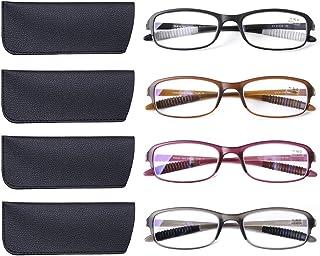 DOOViC 4 Pack Computer Reading Glasses Blue Light Blocking Anti Eyestrain Flexible Lightweight Readers for Women Men 1.5 Strength