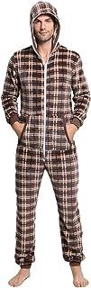 Hombre Pijama Mono Entero con Capucha Casual Doble Cremallera Manga Larga Franela Cuadros Jumpsuit Adulto Una Pieza Primavera Invierno Otoño Cómodo Termica Loungewear