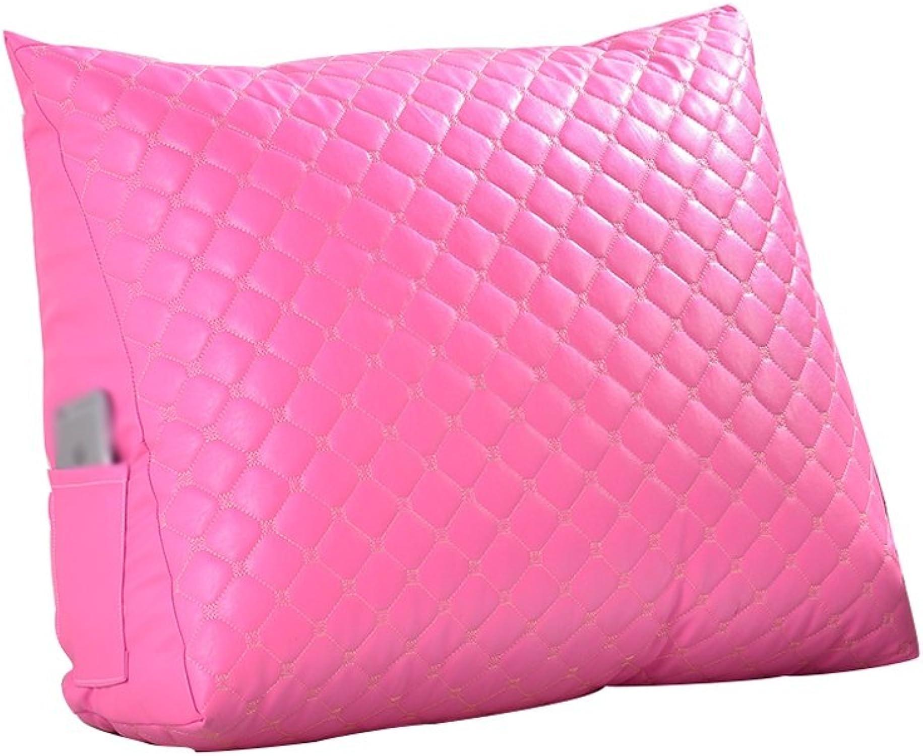 X-L-H Imitation En Cuir Triangle Oreiller Lit Bureau   Sofa Soft sac Coussin De Dossier, Couleur Unie, Lavable Amovible (Couleur   rose, taille   45cm)