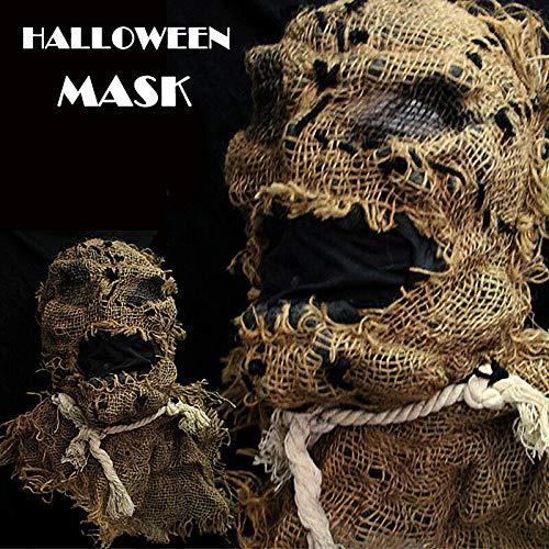 Coomir Horror Adulto Espantapájaros Máscara Disfraz de arpillera ...