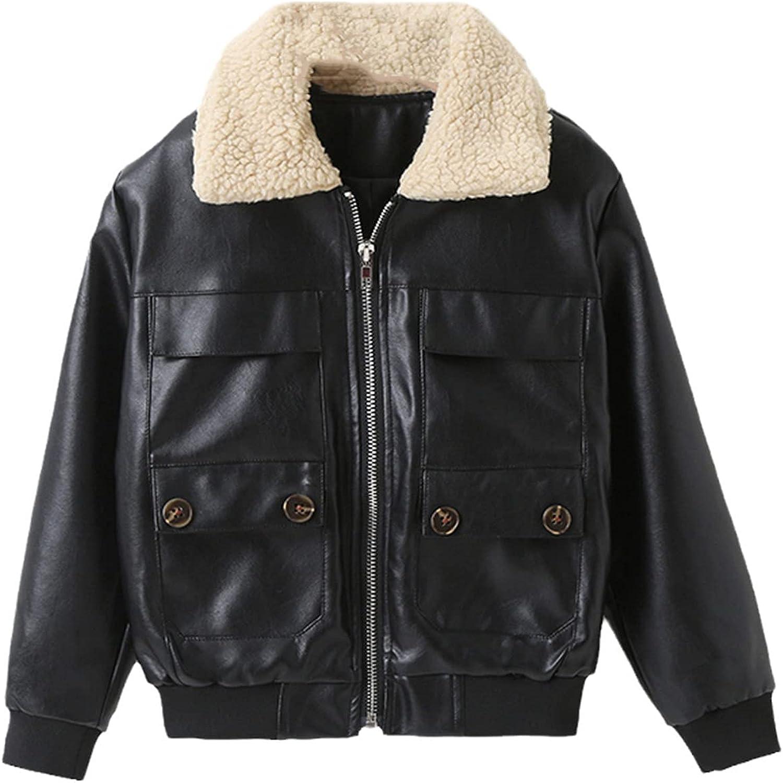 Yiqinyuan Boys Autumn and Winter Jackets Children's Clothing Boys Fashion Leather Jacket Jackets