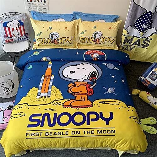 MICOLOD Snoopy - Juego de cama suave y cómodo, impresión digital 3D infantil, diseño de anime, funda de edredón de alta calidad, 100 % algodón microfibra para la habitación (140 × 210,29)