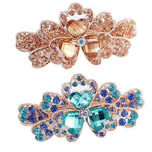 Pince à cheveux à la mode de filles avec la fleur de Tri-pétale de diamant, 2 PC, bleu / Champagne