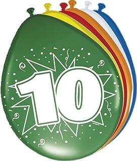 Folat 08210 10. Födelsedagsballonger-8 stycken, flerfärgad