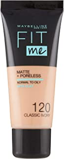 Maybelline New York, Base de Maquillaje que Calca a tu Tono Fit me! Mate y Afinaporos, Color: 120 Classic Ivory