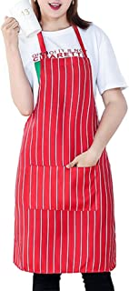 L-SRONG Restaurant Cooking Apron Kitchen Apron with 2 Pockets,Resistant Adult Chef Waiter Bib Aprons - Machine Washable,Comfortable,Easy Care.(Red-and-White Stripes)