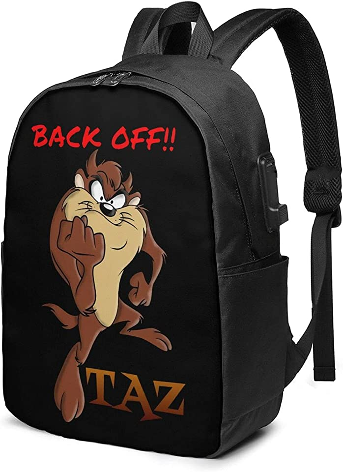 Taz-Mania Unisex Business 17-Inch Backpack With Usb Charging Port, Casual Hiking Daypack