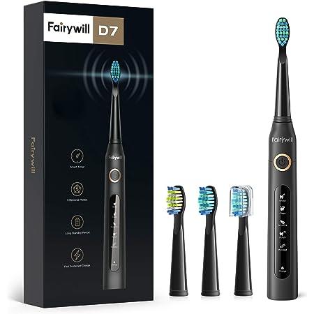 Fairywill Brosse à Dents Électrique, Brosse Dent Sonique Modèle D7, Micro-brosses 40000/min Technologie Ultrasonique avec 5 Modes Optionnels et 3 Têtes Brosse Noir