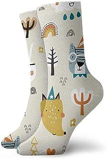 iuitt7rtree Lindo patrón infantil sin costuras con animales en calcetines deportivos atléticos casuales de bosque
