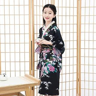 Oriental Asian Kids Girls Japanese Kimono Dress Traditional Costumes Haori Yukata Peacock Luxury Satin Robe Sleepwear Pajamas CQQO (Color : Color4, Size : 5th)