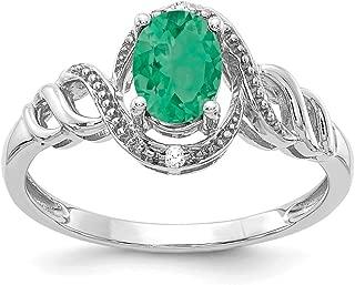 10k White Gold Genuine Emerald Diamond Engagement Wedding Ring (.02 cttw.) (2mm)