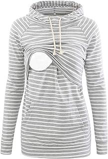 سويت شيرت بقلنسوة للأمهات الحوامل من CareGabi بأكمام طويلة كاجوال ملابس الرضاعة الطبيعية مع جيب