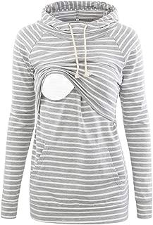 Liu & Qu Womens Nursing Hoodie Long Sleeves Sweatshirt Breastfeeding Layered Top Pocket Casual Clothes