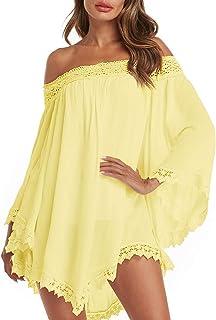 ZANZEA Mujer Vestido Corto Tallas Grandes Manga Larga Sin Hombros Casual Camiseta Fiesta Túnica Blusa Playa Verano
