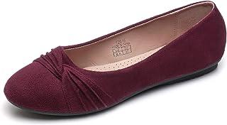 Women's Burgundy Faux Suede Ballet Flat,Round Toe Slip on Dress Shoes US Size 6.5
