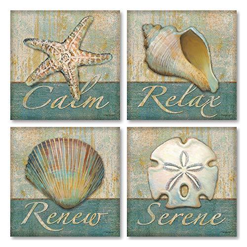 Gango Home Decor Relax, Keep Calm, Serenidad, renovar SPA Carteles; Conjunto de Cuatro 12x 12de