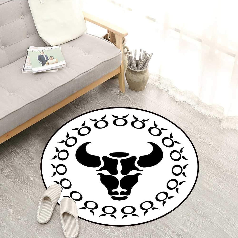 Taurus Kids Rugs Hgoldscope Bull Form Birthday Legendary Symbolic Celestial Effects Artsy Graphic Sofa Coffee Table Mat 5'3  Black White