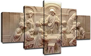 Jesus Last Supper Wall Decor for Living Room Pictures 5 Piece Canvas Prints Wall Art Christ Ultima Cena Paintings Bedroom ...