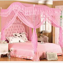 Mengersi Arched 4 Corners Post Bed Curtain Canopy Mosquito Net Square Princess Fly Screen, Indoor Outdoor (Twin, Pink)