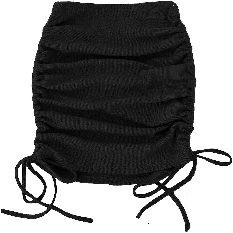 Haellun Women's Ribbed High Waist Drawstring Ruched Side Bodycon Wrap Mini Skirts