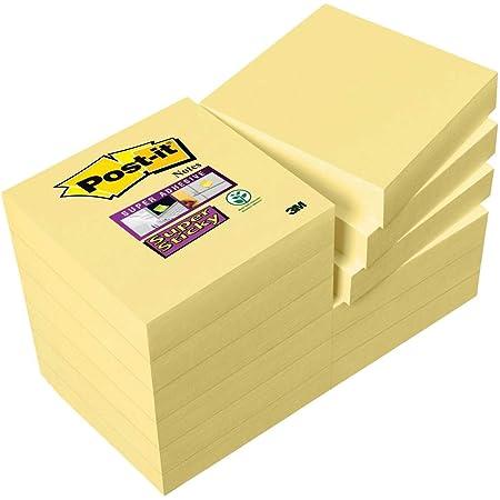Post-it Super sticky Pack de 12 Notes 47,6 x 47,6 mm Jaune