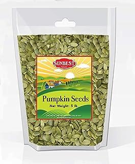 SUNBEST NATURAL Pumpkin Seeds/ Pepitas- Raw, Unsalted, Shelled, 5 lb Resealable Bag