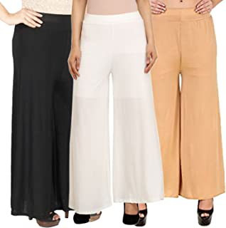 Pixie Casual Wear Pant Palazzo Combo (Pack of 3) Black, White and Beige - Free Size