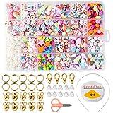 ZITFRI Cuentas de Niños DIY 24 Tipos de Cuentas Coloridas para niños y niñas para Hacer Joyas Pulseras de Bricolaje y Cuentas de Collares, Beads Kit de fabricación de Joyas Juguete de Creatividad