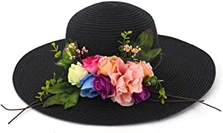 2019 Spring Summer Retail Ladies Flower Dome Straw Hat Beach Hat Sun Hat` TuanTuan (Color : Black, Size : 56-58CM)