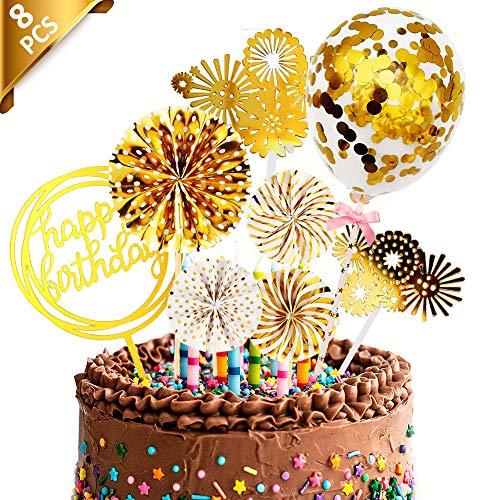 Geburtstag Tortendeko Cake Topper, 8 Stk Papierfächer Feuerwerk Konfetti Ballon Acryl Cupcake Topper Kuchen Topper, Gold Happy Birthday Tortendeko für Mädchen/Junge/Baby/Kindergeburtstag Kuchendeko
