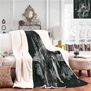 Throw Blanket Furry Throw Blanket Angel Architecture Monuments Sadness Gothic Mysticism Themed Greek Artwork Print Office Lunch Break Blanket Black Dimgrey W59 xL78