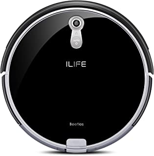 ILIFE A8 Robot Vacuum Cleaner, Upgraded with Camera Vision Mapping Navigation, 2.8 Inches Super Slim, Tempered Glass Cover, Self-Charging, I-Voice Assistant, Cleans from Hardfloor to Low-Pile Carpet