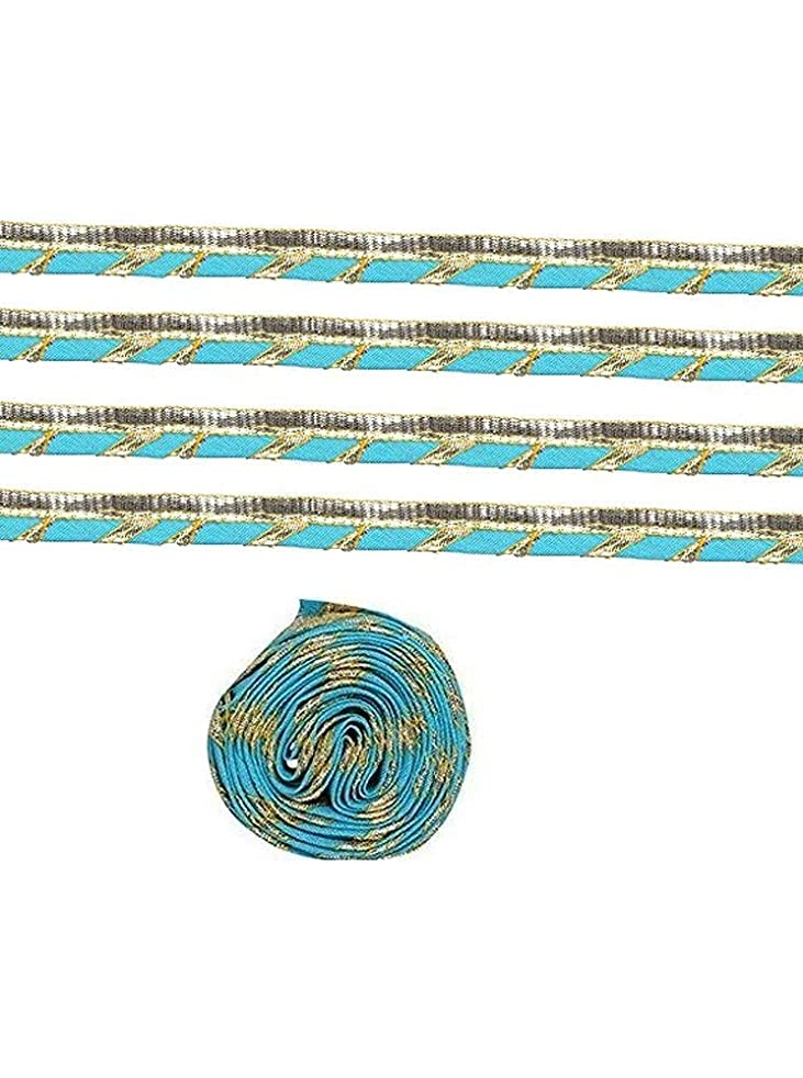 GOELX Designer Gota Laces and Borders 5 Meters for Clothes/Apparels/Saree Suit Borders - Turquoise Blue