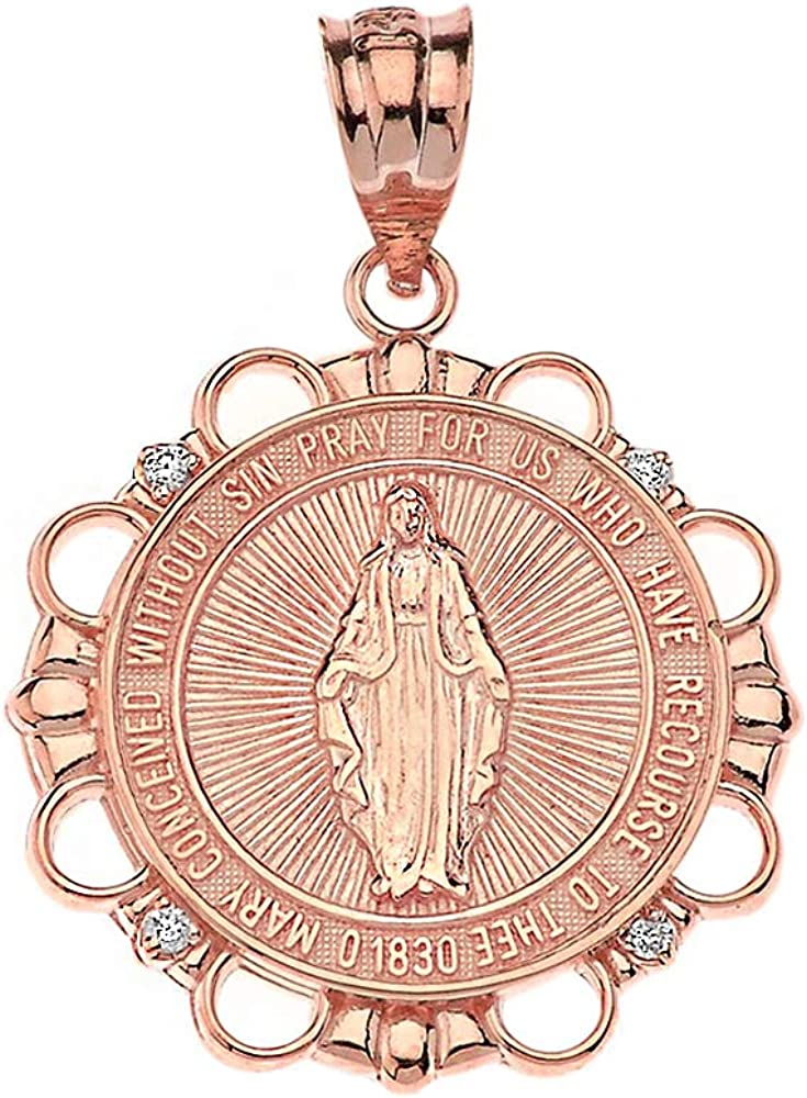 Quality Sale Special Price inspection Fine 14k Rose Gold Round Mary Miraculous Virgin Blessed Diamond