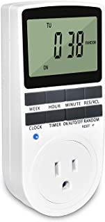 Digital Light Timer Weekly Programmable Indoor Wall Timer Switches with Backup Battery for Electric Outlets (1 Pack)