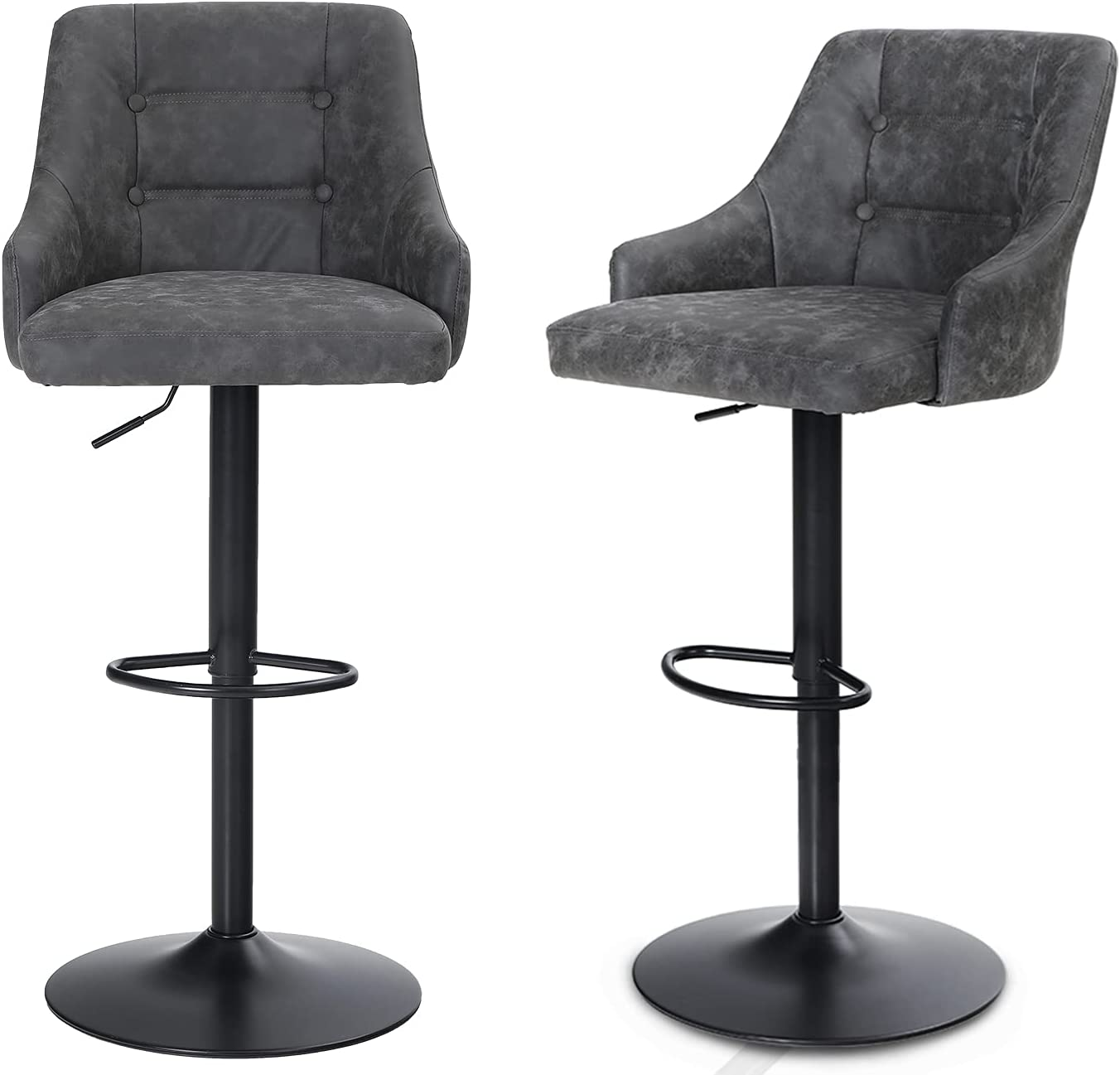 MAISON ARTS Swivel Adjustable Bar Stools with Back Set of 9 for Kitchen  Counter Padded Counter Height Faux Leather Bar Chairs with Heavy Duty Base  for ...