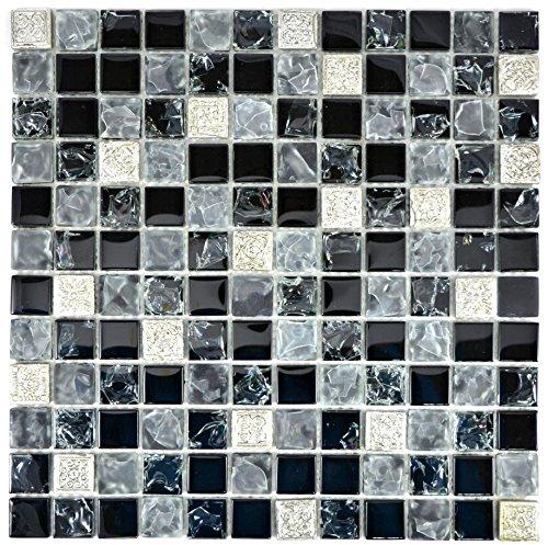 Mosaik Fliese Transluzent grau schwarz Glasmosaik Crystal Resin grau schwarz silber gefrostet für WAND BAD WC DUSCHE KÜCHE FLIESENSPIEGEL THEKENVERKLEIDUNG Mosaikmatte Mosaikplatte