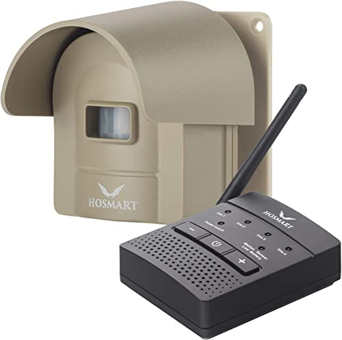 1/4 Mile Long Range Hosmart Rechargable Wireless Driveway Alarm System & driveway alert system Top Rated Outdoor Weat...