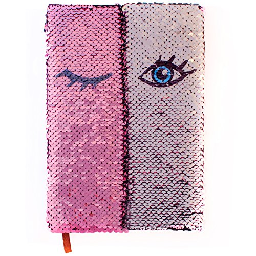 Flip Sequin Journal/Notebook for Girls | Reversible Magic Diary | Unique Gift for Kids | (Pink - Silver)