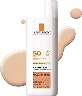 La Roche-Posay Anthelios Tinted Mineral Ultra-Light Fluid Broad Spectrum SPF 50, Face Sunscreen with Titanium Dioxide, Oi...