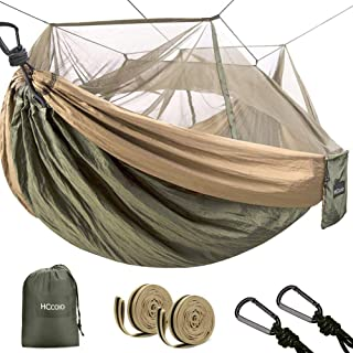 HCcolo Camping Hammock with Mosquito Bug Net, Portable Hammocks with 9ft Hammock Tree Straps & Carabiners, Lightweight Nyl...