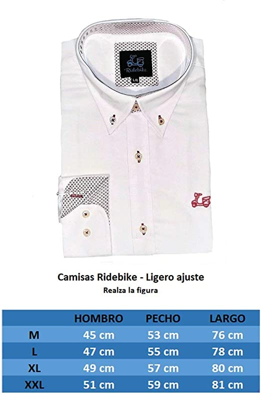 Ridebike, Vespa, Camisa Blanca. Ligero Slim fit, realza la Figura.