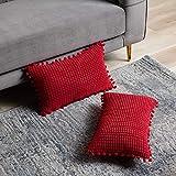 DEZENE Rot Dekorative Kissenbezug mit Pompons - 2er Pack 30x50cm Cord Gestreifte Big Corn Kernels Rechteckig Kissenbezüge für Farmhouse Couch Sofa
