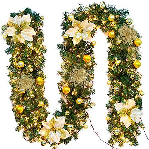 FunPa Guirnalda Navidad, 9 Pies Guirnalda De Pino Artificial Flor De Navidad con Luz para La Decoración del Hogar