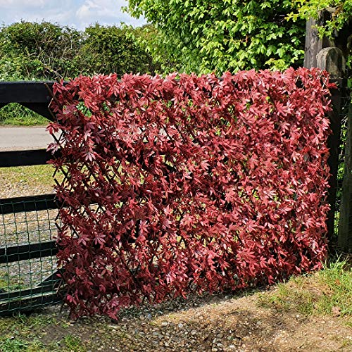 True Products Artificial Red Acer Expanding Willow Trellis Garden Fence Balcony Screening