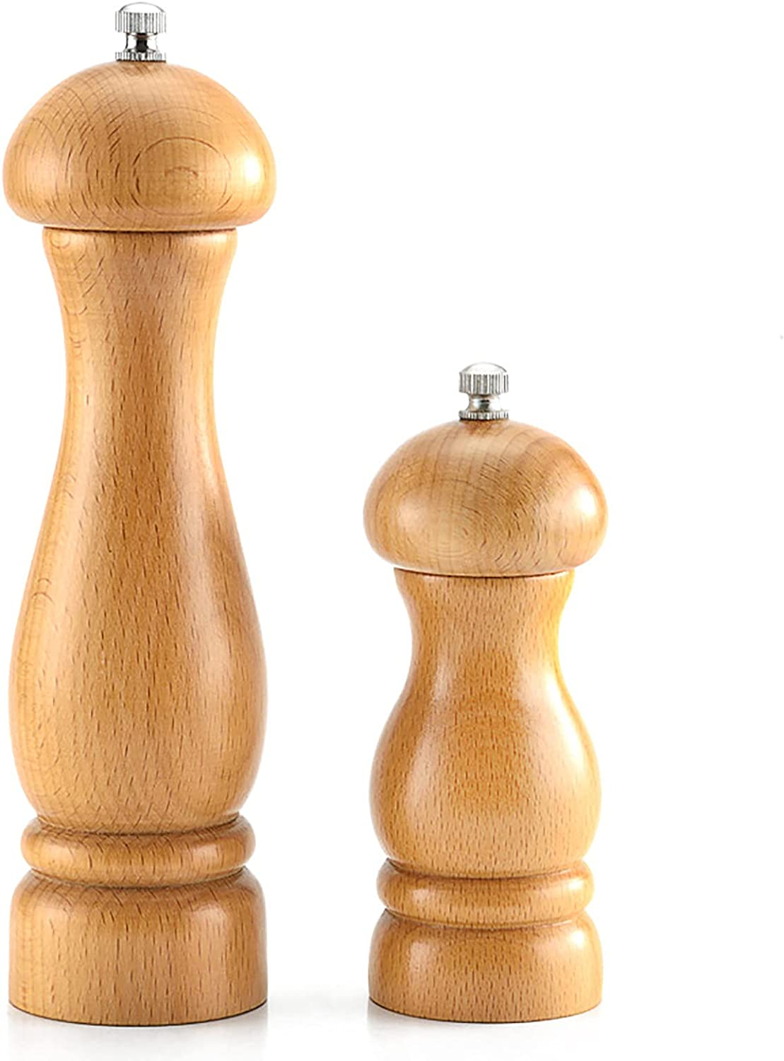 FHTD 2Pcs Wooden Salt and Set Manual Mill Adjustable Pepper Now free shipping Los Angeles Mall
