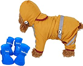 BabyHomder Small Dog Raincoat&Rain Boots Set  Reflective Strip Hooded&Four Leg Pet Raincoat - 100% Polyester/Water Proof   Cute Pet Rain Boots – Waterproof/Anti-Slip/Silicone
